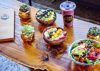 Acai bowls and healthy salads